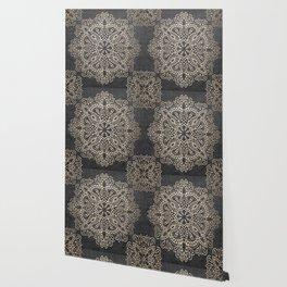 Mandala White Gold on Dark Gray Wallpaper