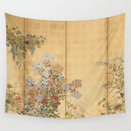 Japanese Edo Period Six-Panel Gold Leaf Screen - Spring and Autumn Flowers Wall Tapestry