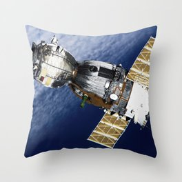 Backdropped by a blanket of clouds the Soyuz TMA-7 spacecraft departs from the International Space S Throw Pillow
