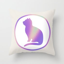 Holographic cat silhouette Throw Pillow