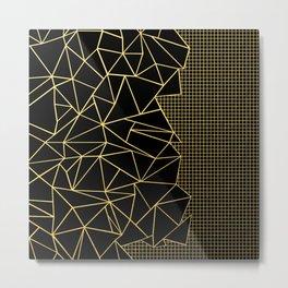 Ab Outline Grid Black and Gold Metal Print