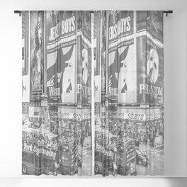 Times Square II (B&W widescreen) Sheer Curtain