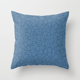 Blue spiral wave Throw Pillow