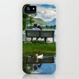 Couple take a moment to reflect at Lake Hayes Queenstown iPhone Case