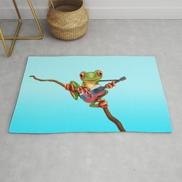 Tree Frog Playing Acoustic Guitar with Flag of Slovakia Rug
