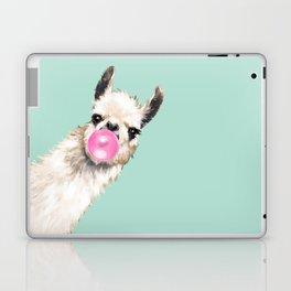 Bubble Gum Sneaky Llama in Green Laptop & iPad Skin