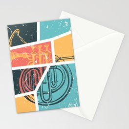 French Horn Retro Funny print French Horn Player Gift Stationery Cards