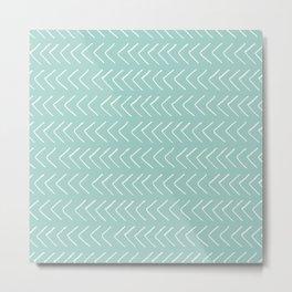 Hand painted pastel green white geometrical chevron Metal Print