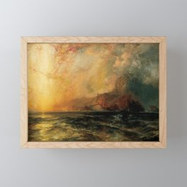 Fiercely the red sun descending  burned his way along the heavens by Thomas Moran Framed Mini Art Print