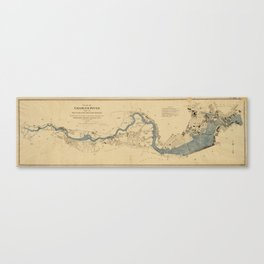 Vintage Map of The Charles River (1894) Canvas Print