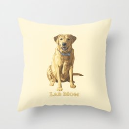 Dog Mom Yellow Labrador Retriever Throw Pillow