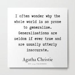 58  | Agatha Christie Quotes | 190821 Metal Print