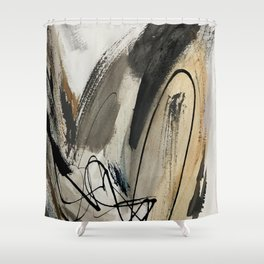 Drift [5]: a neutral abstract mixed media piece in black, white, gray, brown Shower Curtain