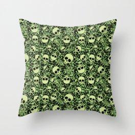 Skull Pattern | Bones Heavy Metal Cemetery Throw Pillow