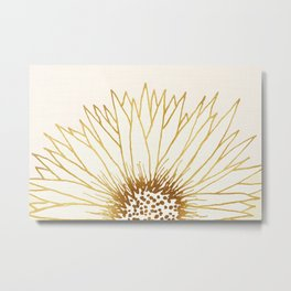 Gold Sunflower II - Wide Pastel Metallic Palette Metal Print