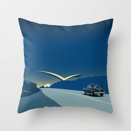 """Soviet Modernism: """"Seagull"""" road mark at the northern entry of Yerevan Throw Pillow"""