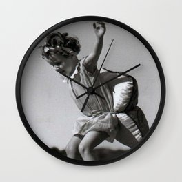 Girls Have to be Ready for Anything - Little girl on roller skates with pillow black and white photograph Wall Clock