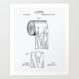 Toilet Paper Roll 1891 Patent Art Illustration Whitepaper Art Print
