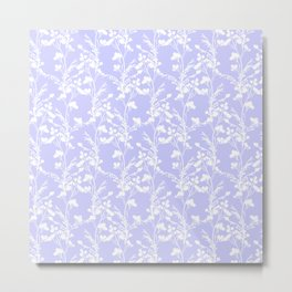 Flat Flower Silhouettes - Cut-Out Contrast in Periwinkle Purple and White Metal Print