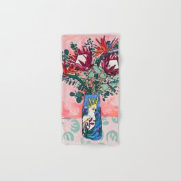 Cockatoo Vase on Painterly Pink Hand & Bath Towel