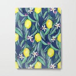 When Life Gives You Lemons - blue Metal Print