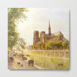 L'lle de la Cite and the Cathedral of Notre Dame, Paris from Quai Montebello by Firmin Girard Metal Print