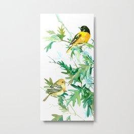 Baltimore Oriole Birds and White Oak Tree Metal Print