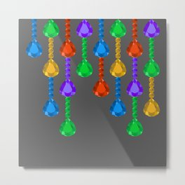 Colorful jewel stones in jewel tones rain curtain dark Metal Print