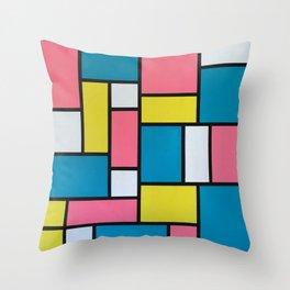 Mondrian in Motion Throw Pillow