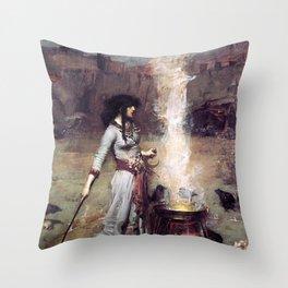 THE MAGIC CIRCLE - JOHN WILLIAM WATERHOUSE Throw Pillow