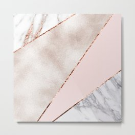 Spliced mixed rose gold marble Metal Print