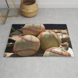Baseballs and Glove Rug