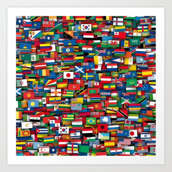 Flags of all countries of the world Kunstdrucke