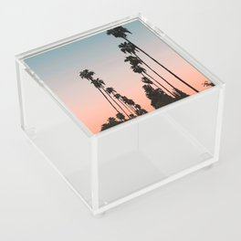 California Sunset // Palm Tree Silhouette Street View Orange and Blue Color Sky Beach Photography Acrylic Box