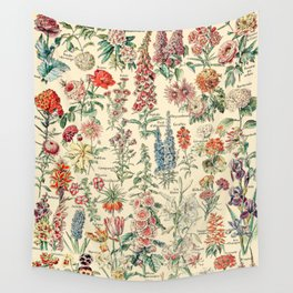 Vintage Floral Drawings // Fleurs by Adolphe Millot XL 19th Century Science Textbook Artwork Wall Tapestry