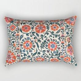 Shakhrisyabz Suzani  Uzbekistan Antique Floral Embroidery Print Rectangular Pillow