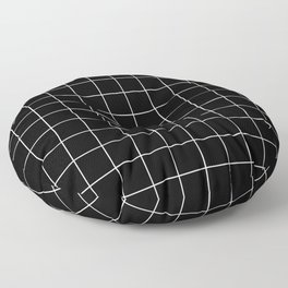 Grid Pattern Line Stripe Black and White Minimalist Geometric Stripes Lines Floor Pillow