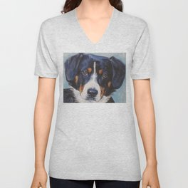 Entlebucher Mountain Dog portrait art from an original painting by L.A.Shepard Unisex V-Neck