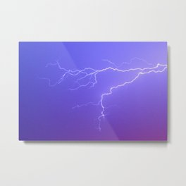 Purple Sky and White Lightening Metal Print
