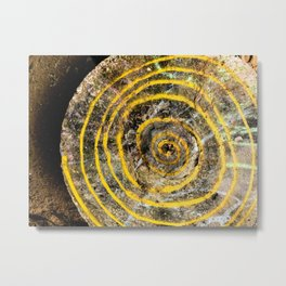 Yellow Spiral Metal Print