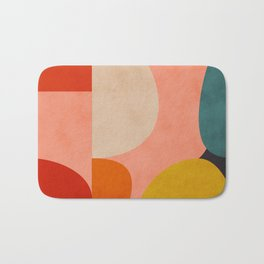 geometry shape mid century organic blush curry teal Bath Mat