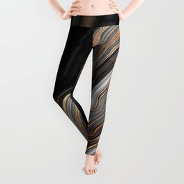 Elegant black marble with gold and copper veins Leggings