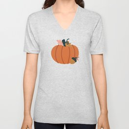 Fall Pumpkin Field Unisex V-Neck