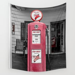 Vintage Route 66 Antique Fire Chief Red Gas Pump Wall Tapestry