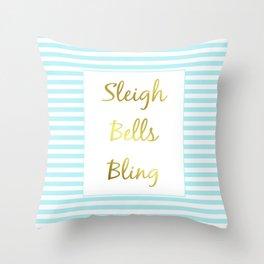 Sleigh Bells Bling Throw Pillow