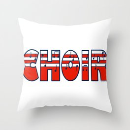 Choir in Patriotic Red White and Blue Music Font Throw Pillow