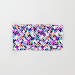 Colorful abstract geometric shapes illustration pattern  Hand & Bath Towel