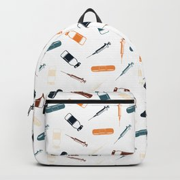 Vintage Vaccines - Large on White Backpack