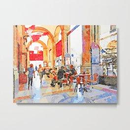 Teramo: bar tables under the arcades Metal Print