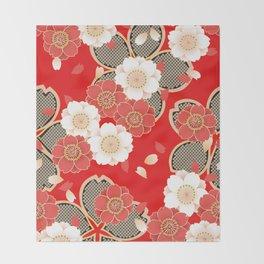 Japanese Vintage Red Black White Floral Kimono Pattern Throw Blanket